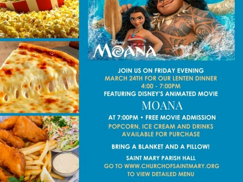 Dinner and A Movie Flyer Beautiful Dinner and A Movie Friday March 24th at Saint Mary