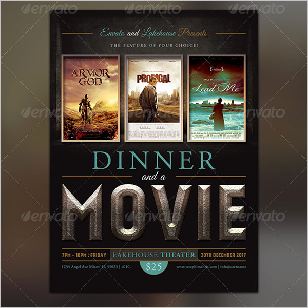 Dinner and A Movie Flyer Best Of 52 Movie Flyer Designs Free Psd Word Templates