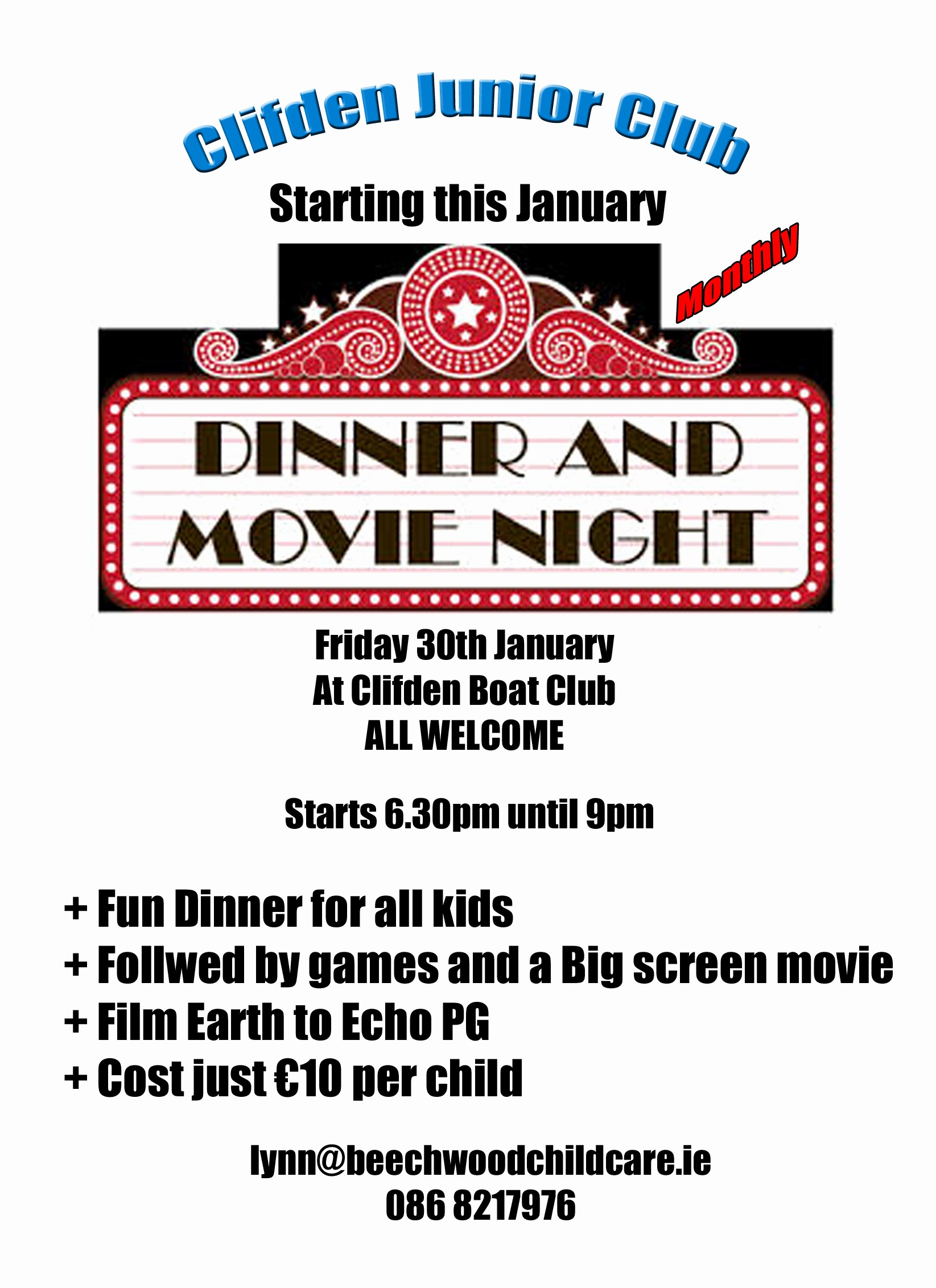 Dinner and A Movie Flyer Elegant Clifden Boat Club News