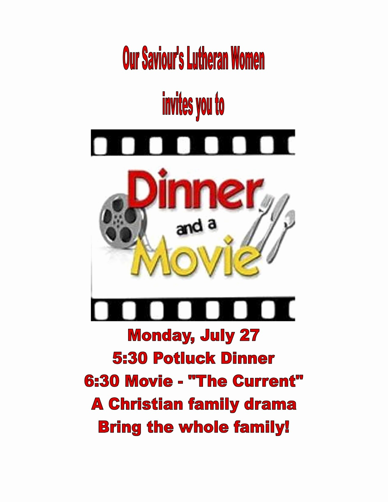 Dinner and A Movie Flyer Elegant Dinner and A Movie July 27 Our Saviours Lutheran Church