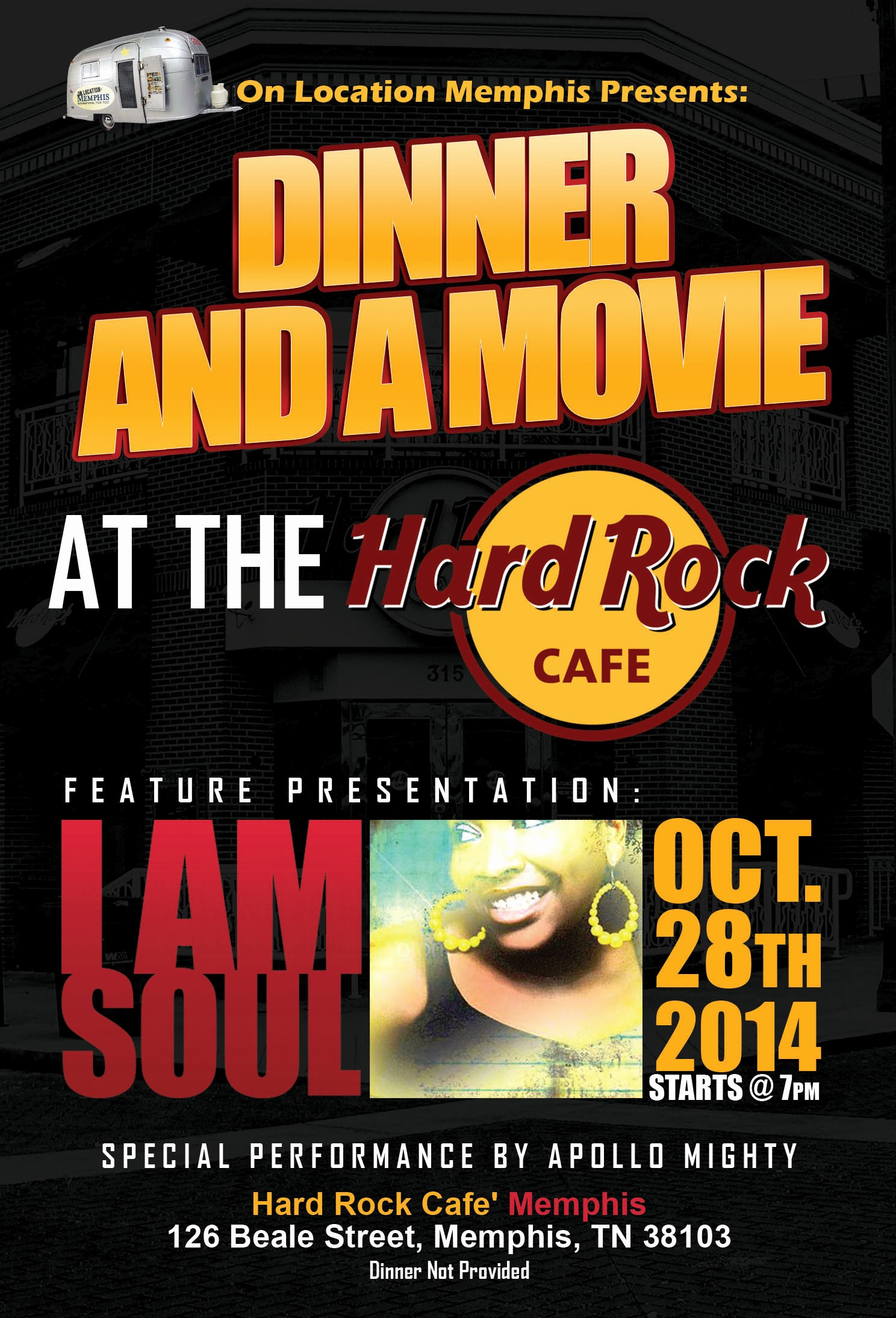 Dinner and A Movie Flyer Inspirational Dinner and A Movie at the Hard Rock Cafe Memphis