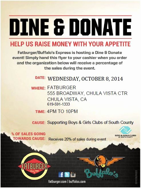 Dinner and A Movie Flyer Lovely Fat Burger Dine & Donate Benefiting Boys & Girls Clubs