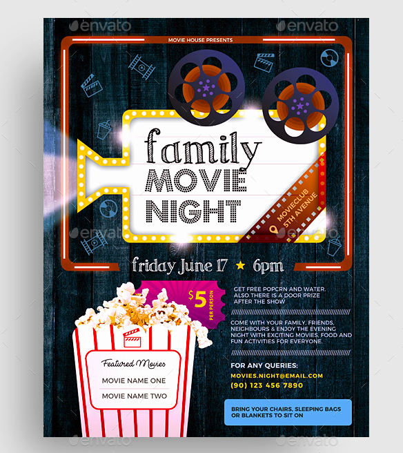 Dinner and A Movie Flyer Unique 15 Movie Flyer Designs & Templates Psd Word Publisher