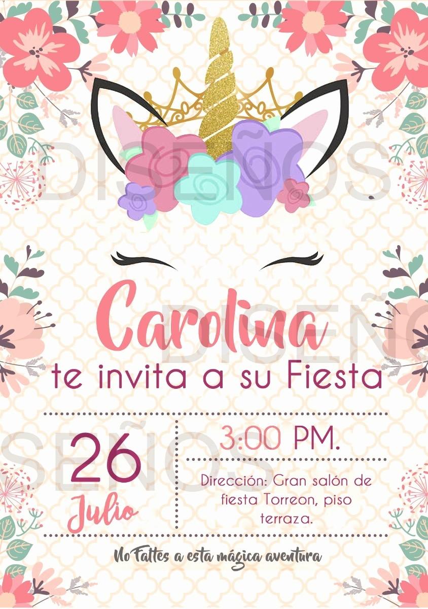 Diseño De Tarjetas De Invitacion Beautiful Tarjeta De Invitacion Unicornio Personalizada Digital