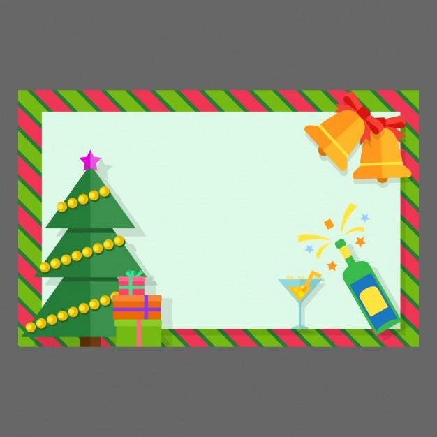 Diseño De Tarjetas De Invitacion Lovely Tarjeta De Navidad Con Campanas Y Regalos En Diseño Plano
