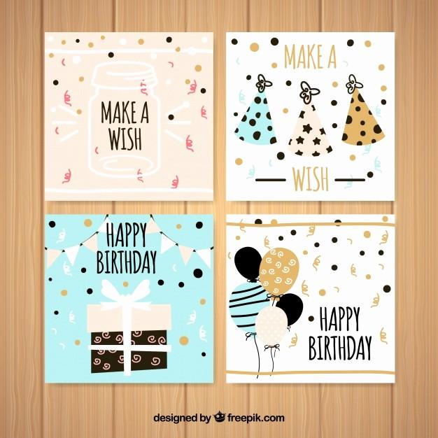 Diseños De Tarjetas De Cumpleaños Elegant Colección De Cuatro Tarjetas De Cumpleaños Cuadradas En