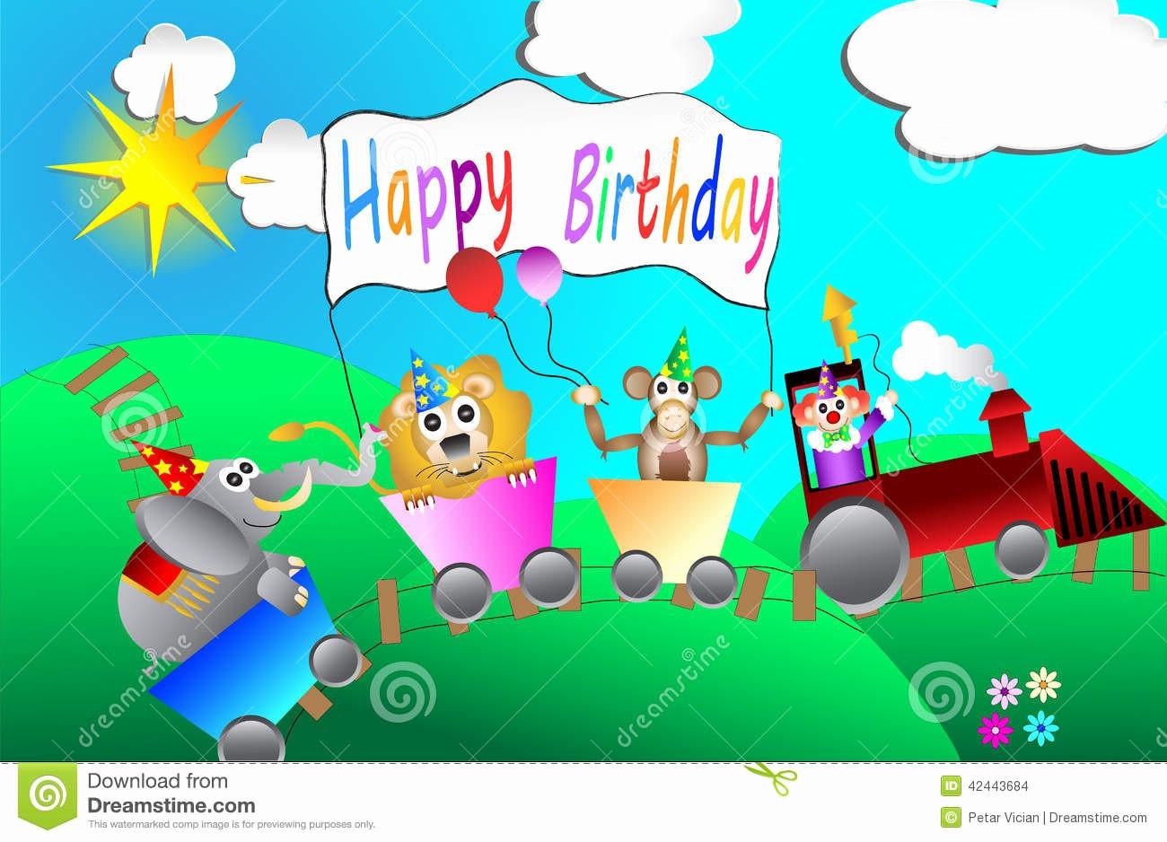 stock de ilustración diseño de tarjeta de la fiesta de cumpleaños del circo para el vector de los niños image
