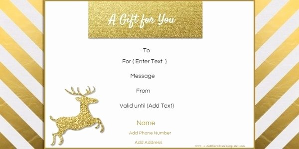 Diy Gift Certificate Template Free Beautiful Free Editable Christmas Gift Certificate Template