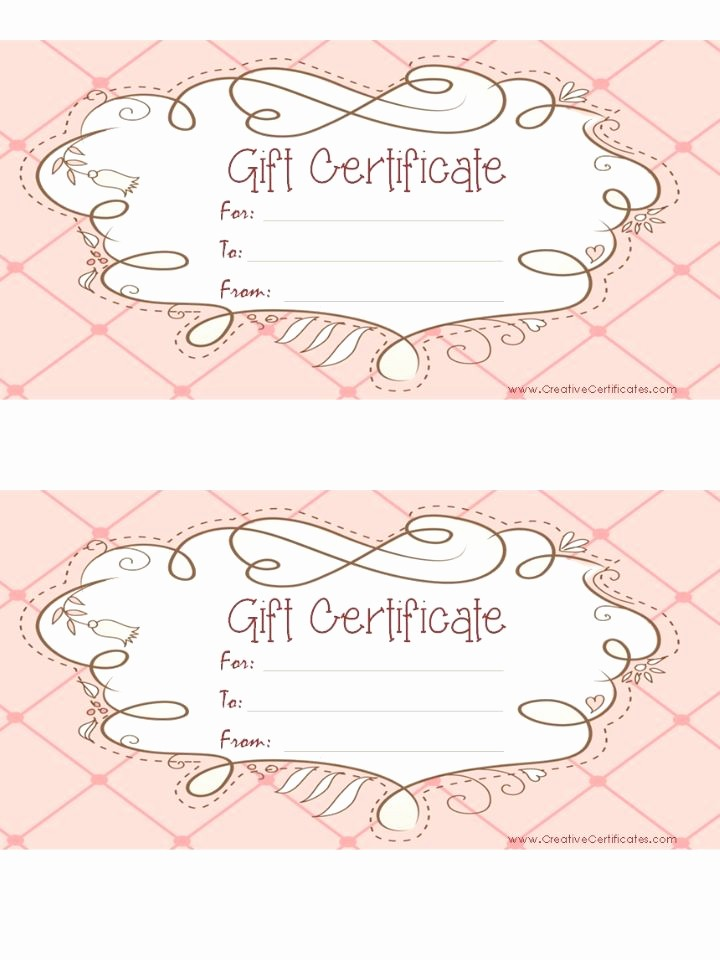 Diy Gift Certificate Template Free Beautiful Free Printable Pink T Certificate with A Brown Drawing