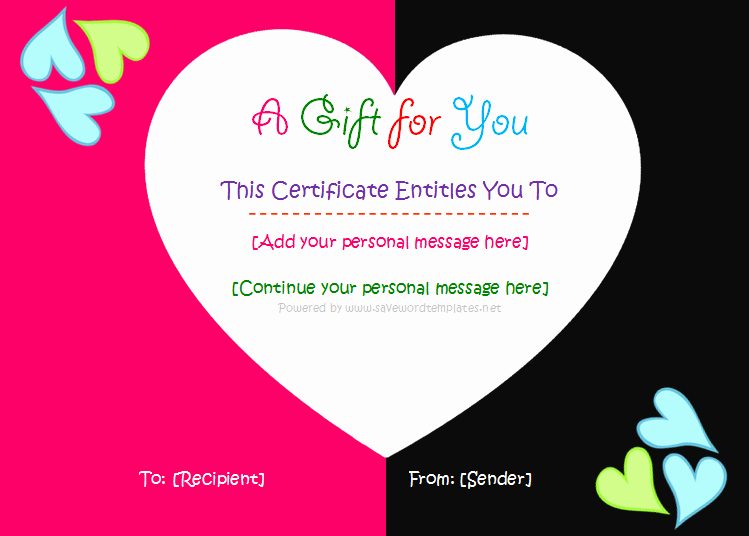 Diy Gift Certificate Template Free Elegant Save Word Templates