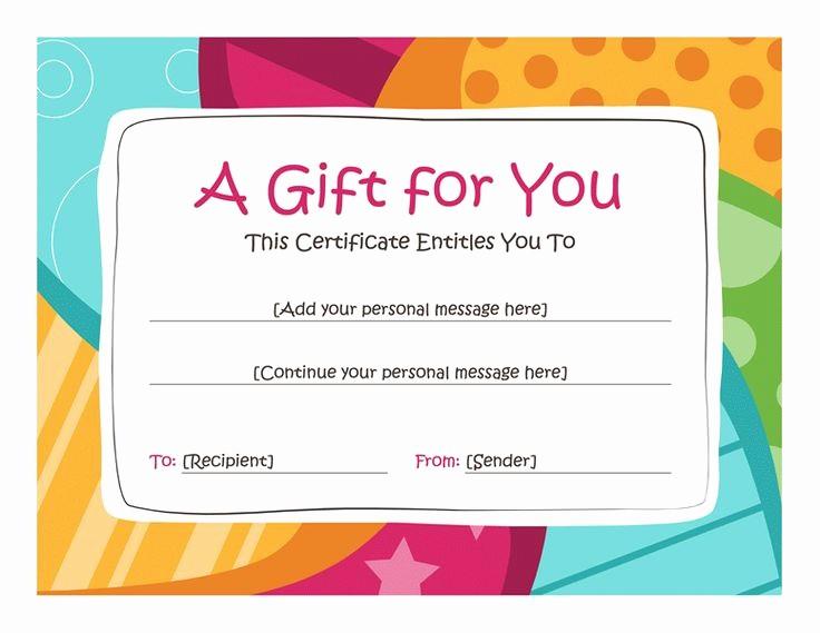 Diy Gift Certificate Template Free Inspirational Birthday T Certificate Template