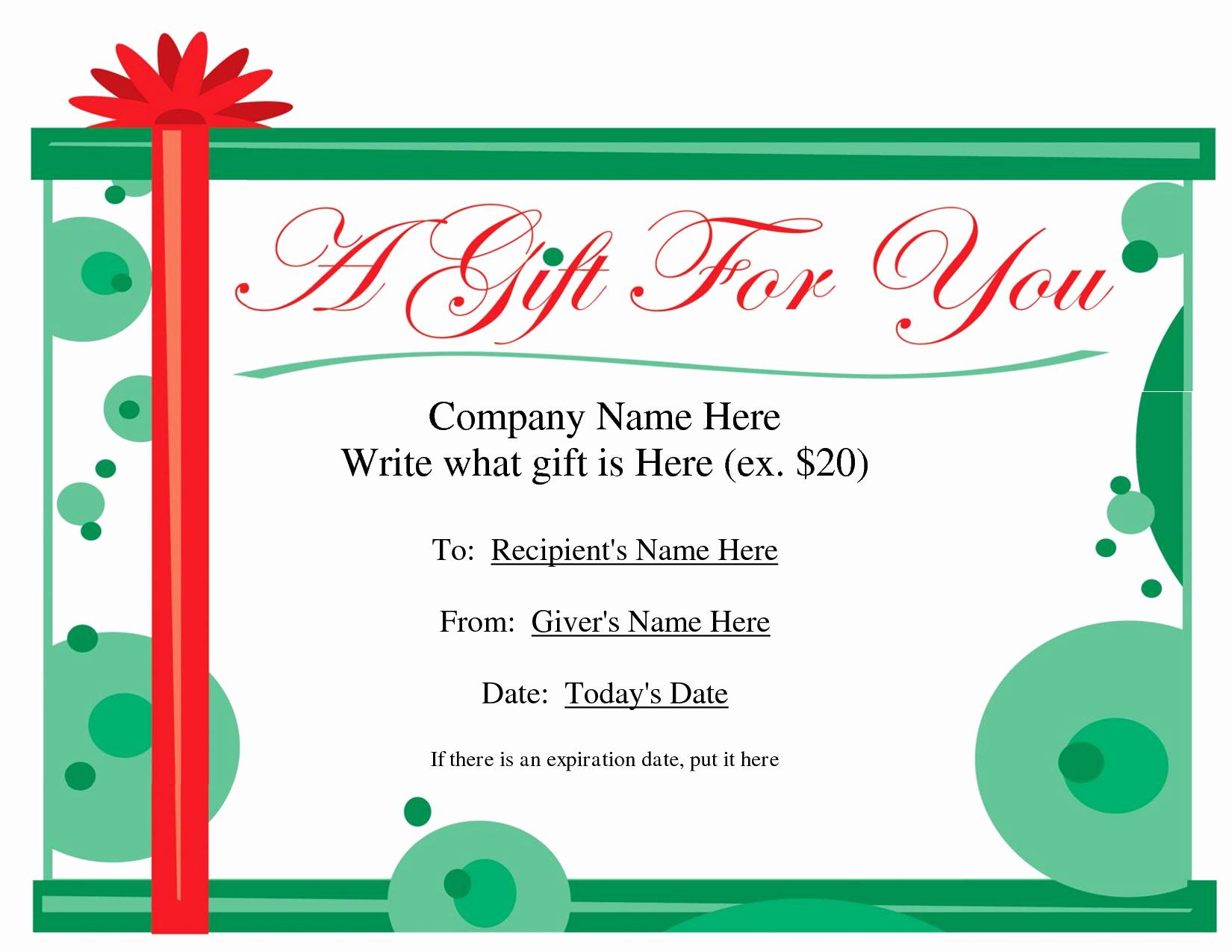 Diy Gift Certificate Template Free Inspirational Free Printable Gift Certificate Template