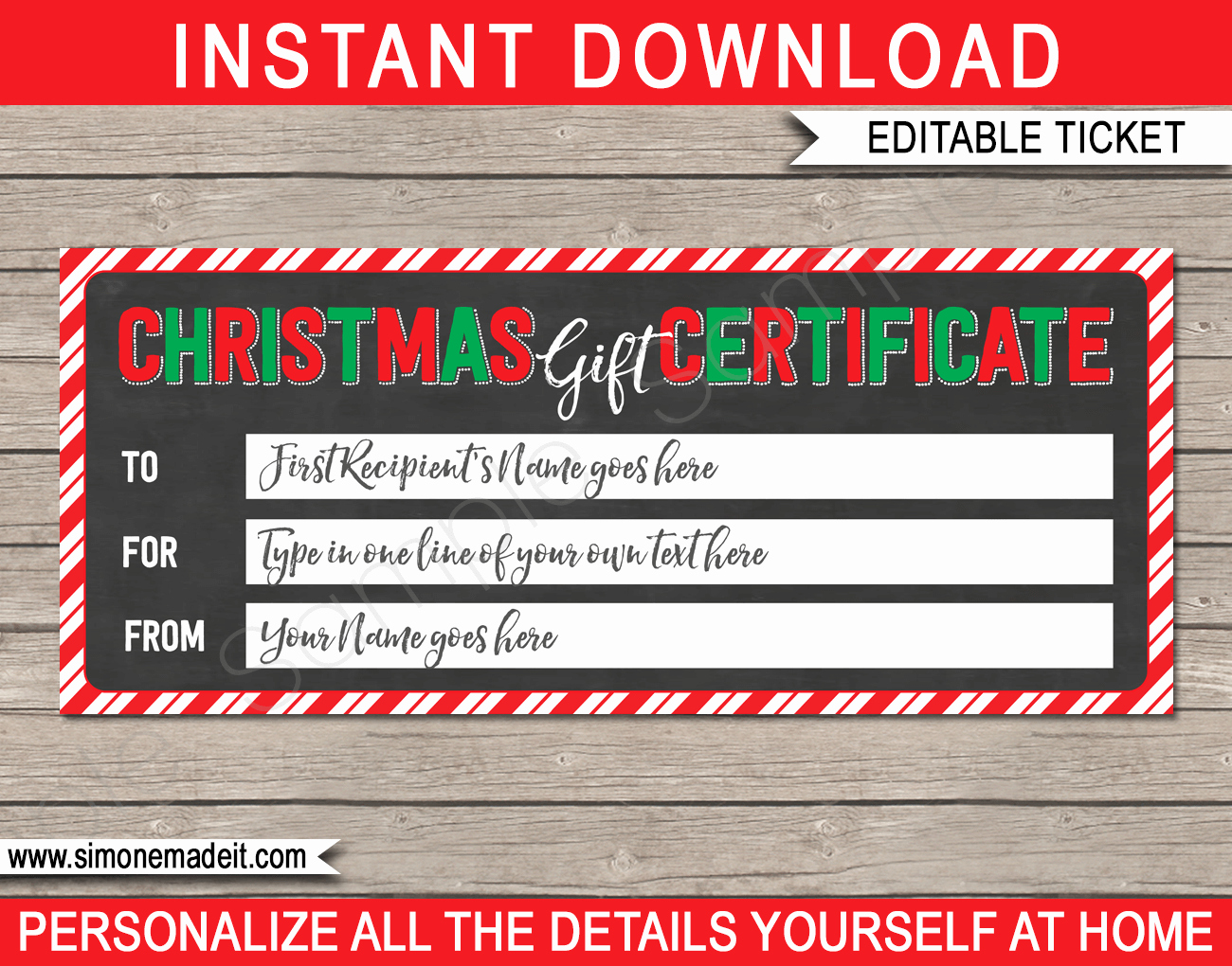 Diy Gift Certificate Template Free Lovely Printable Christmas Gift Certificate