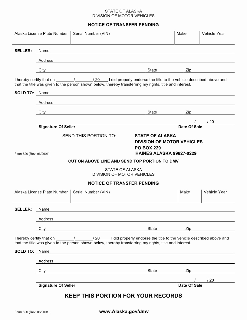Dmv Bill Of Sale Template Fresh Free Alaska Motor Vehicle Bill Of Sale form Download Pdf