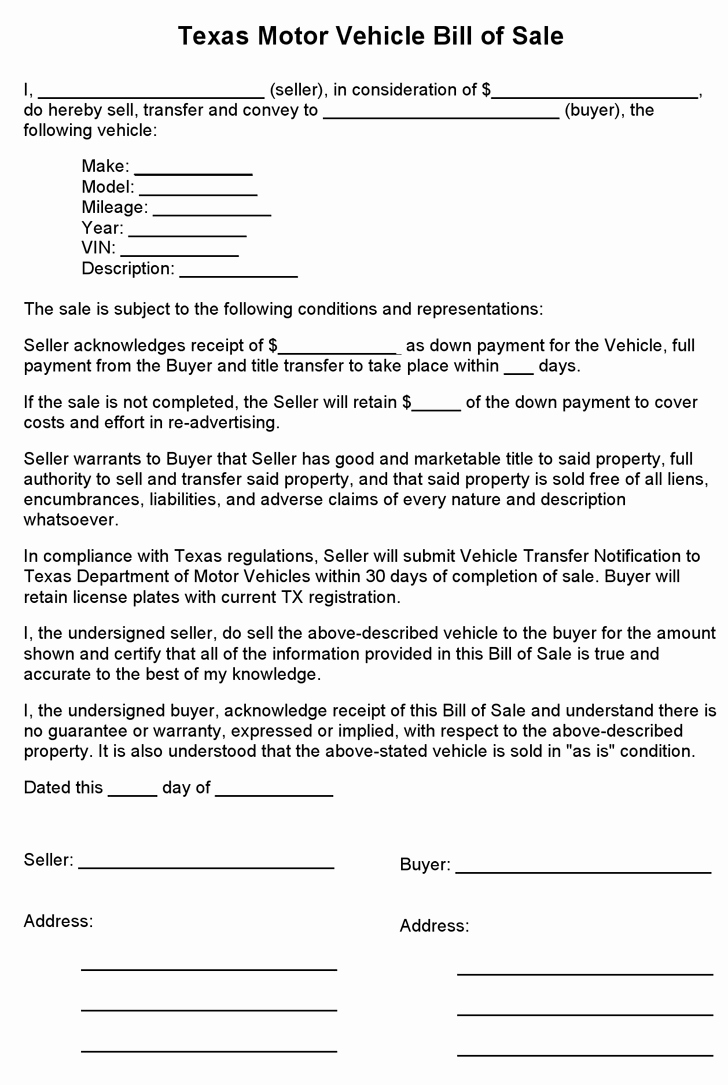 Dmv Bill Of Sale Template Fresh Free Texas Motor Vehicle Bill Sale form Pdf 1 Pages