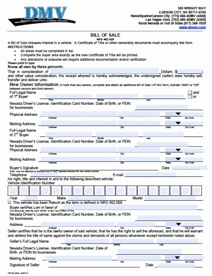 Dmv Bill Of Sale Template Lovely Free Nevada Dmv Vehicle Bill Of Sale Vp104 form