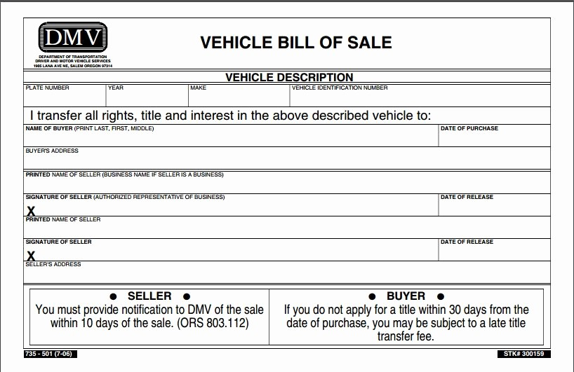 Dmv Bill Of Sale Template Luxury Free oregon Vehicle Bill Of Sale form