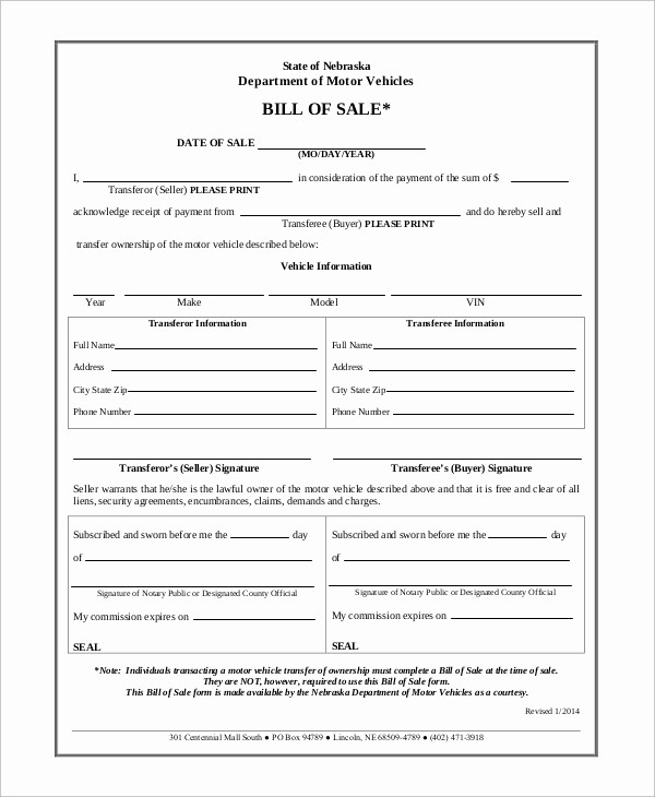 Dmv Bill Of Sale Template New 9 Motor Vehicle Bill Of Sale Samples Examples Templates