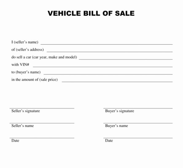 Dmv Bill Of Sale Template Unique Motor Vehicle Bill Of Sale Template Printable form