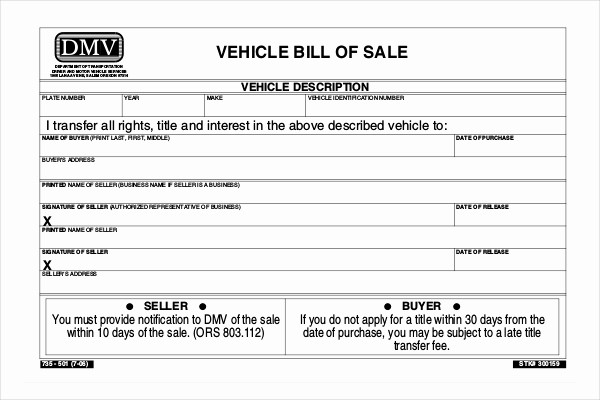 Dmv Bill Of Sell form Fresh 15 Sample Dmv Bill Of Sale forms
