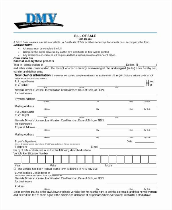 Dmv Bill Of Sell form Fresh Sample Dmv Bill Of Sale form 8 Free Documents In Pdf