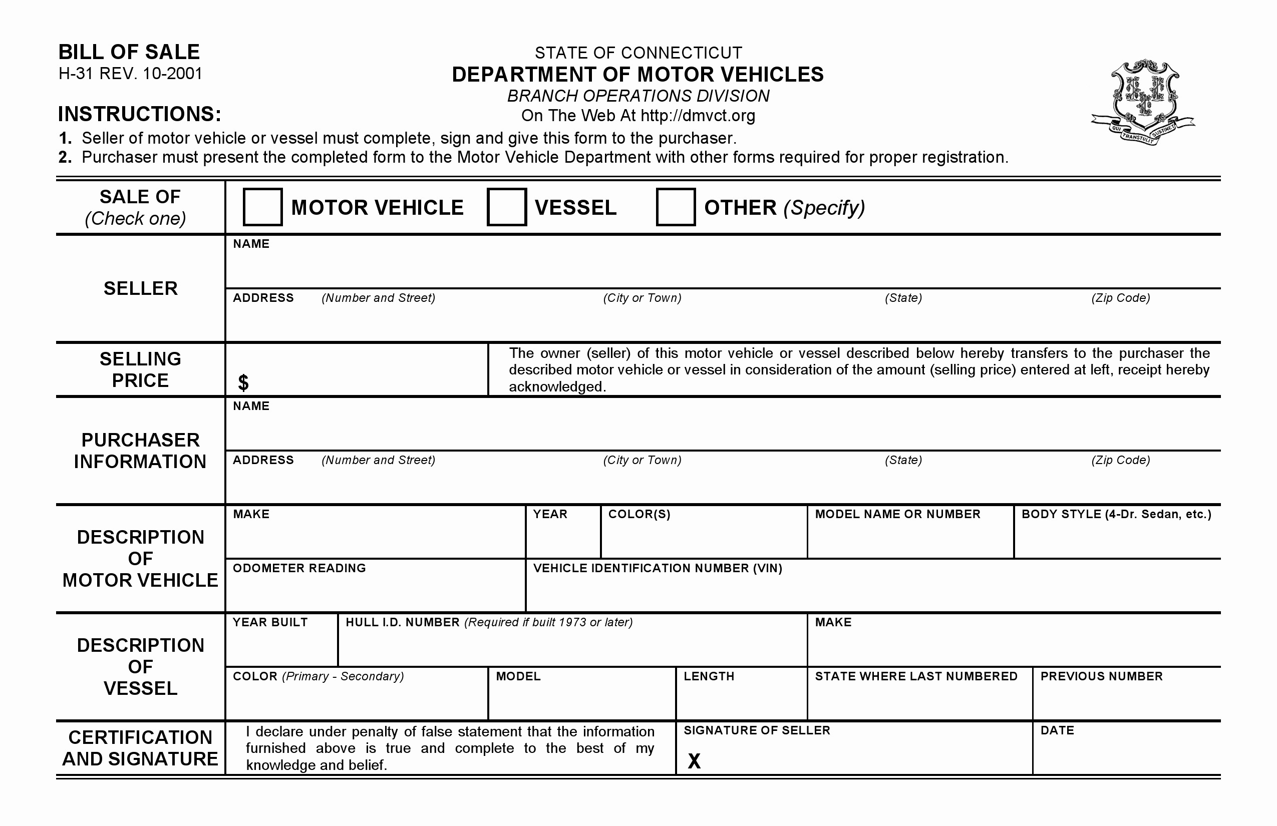 connecticut dmv bill sale form