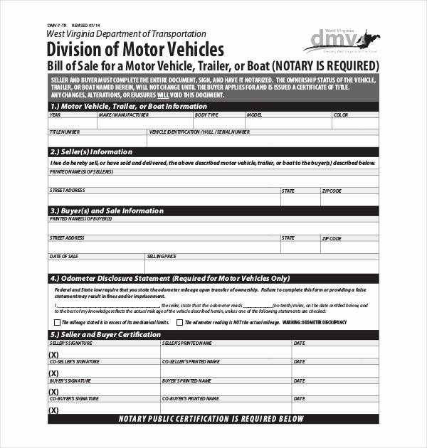 Dmv Bill Of Sell form New 15 Sample Dmv Bill Of Sale forms