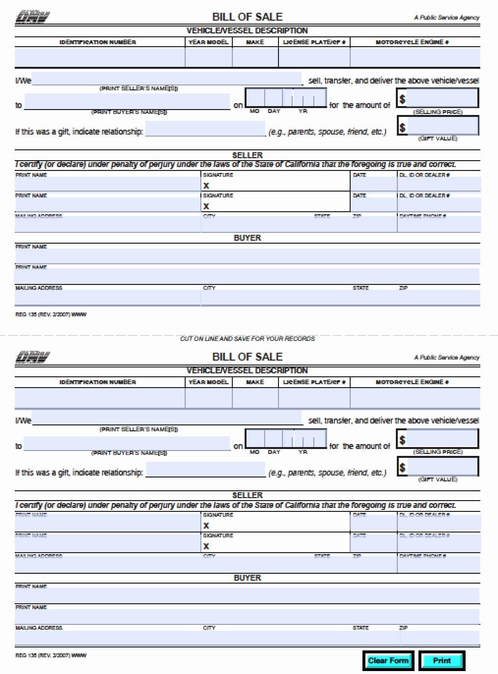 Dmv Bill Of Sell form New Free California Dmv Bill Of Sale Reg 135