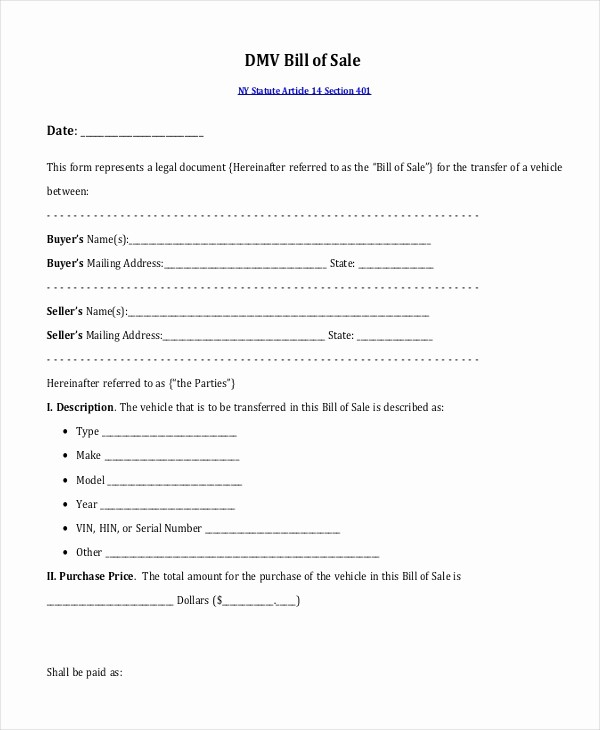 Dmv Bill Of Sell form New Sample Bill Of Sales 10 Free Documents In Pdf
