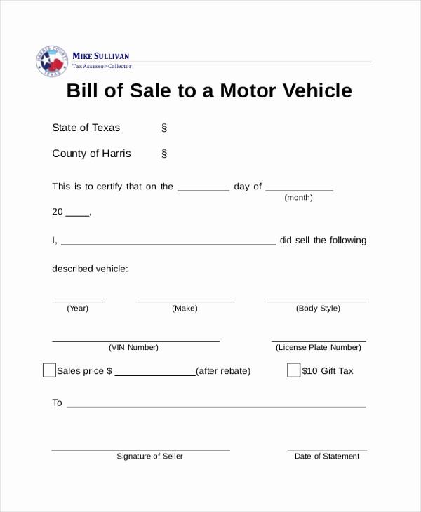 Dmv Bill Of Sell form New Sample Dmv Bill Of Sale forms 8 Free Documents In Pdf