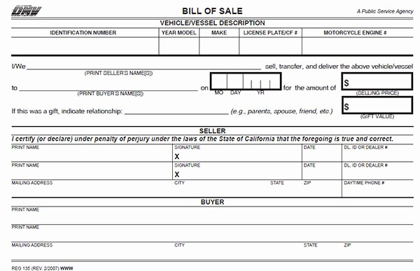 Dmv Bill Of Sell form Unique California Bill Of Sale form