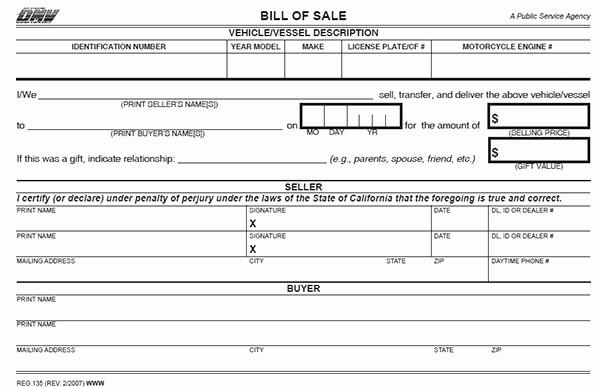 Dmv Bill Of Sell form Unique California Bill Of Sale form