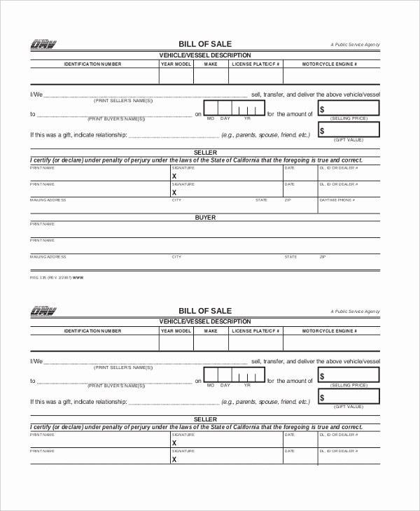 Dmv Printable Bill Of Sale Awesome Sample Dmv Bill Of Sale forms 8 Free Documents In Pdf