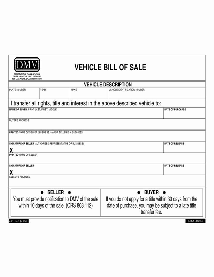Dmv Printable Bill Of Sale Elegant Vehicle Bill Of Sale oregon Free Download