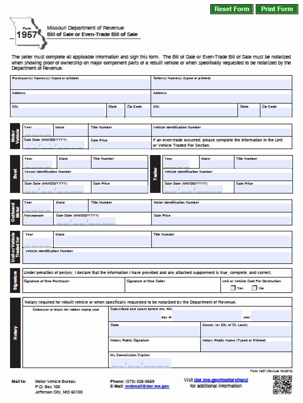 Dmv Printable Bill Of Sale Luxury Free Missouri Dmv Vehicle Boat Bill Of Sale form