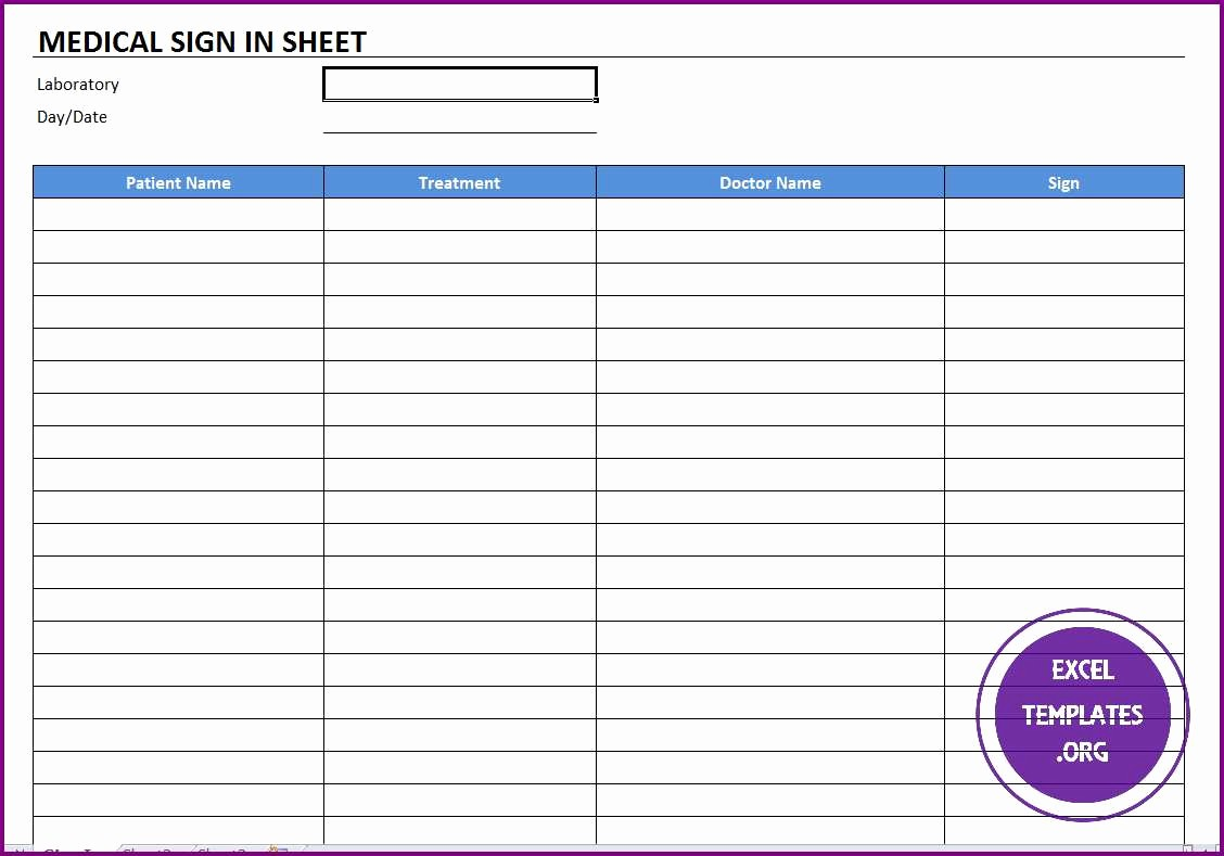 Doctor Sign In Sheet Template Awesome Medical Sign In Template Excel Templates