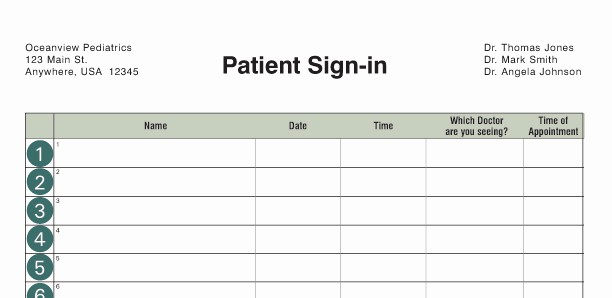 Doctor Sign In Sheet Template Lovely Custom Sign In Log Examples