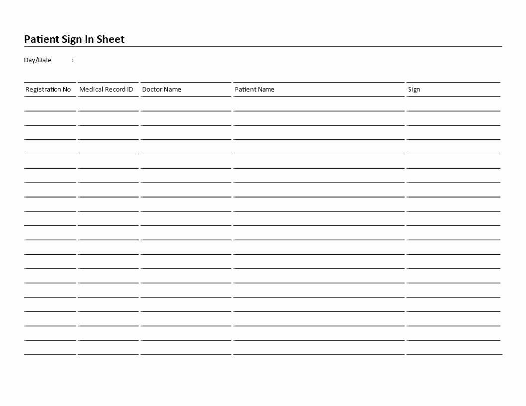 Doctor Sign In Sheet Template Lovely Free Patient Sign In Sheet Landscape