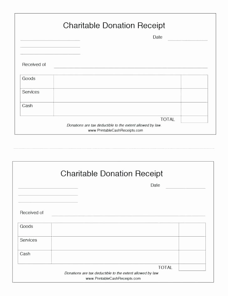 Donation form for Tax Purposes Inspirational Printable Itemized Donation form Template Receipt Goods