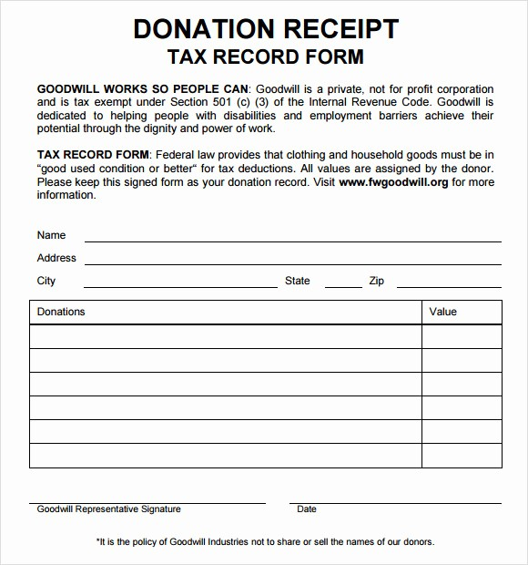 Donation form for Tax Purposes Lovely 10 Donation Receipt Templates – Free Samples Examples