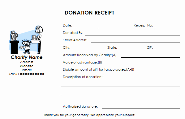 Donation form for Tax Purposes Luxury Tax Deductible Donation Receipt Template