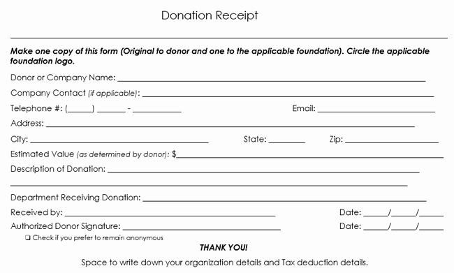Donation form for Tax Purposes Unique Donation Receipt Template 12 Free Samples In Word and Excel