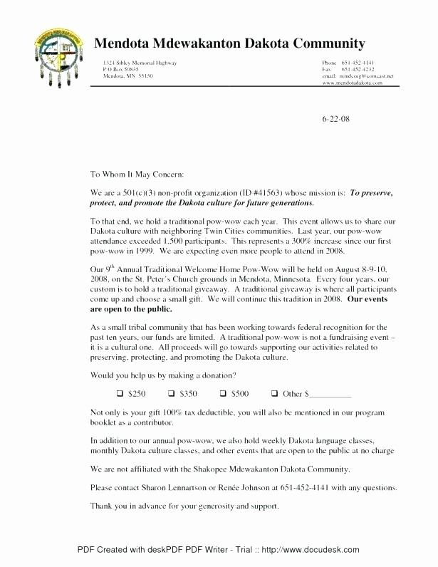 Donation Receipt for Non Profit New Tax Deductible Donation Receipt Letter Template Non Profit