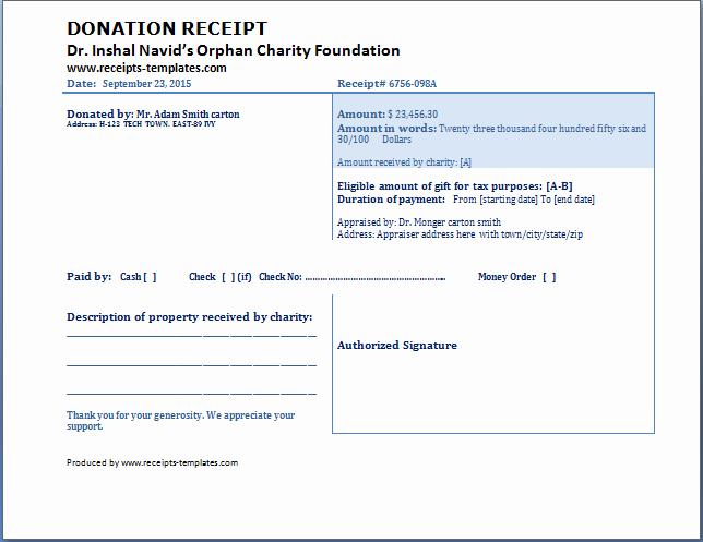 Donation Receipt Letter Template Word Elegant Charitable Donation Receipt Template Free Download Aashe