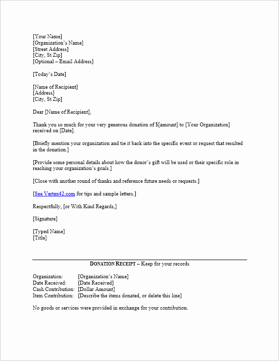 Donation Receipt Letter Template Word Fresh Free Donation Thank You Letter Template