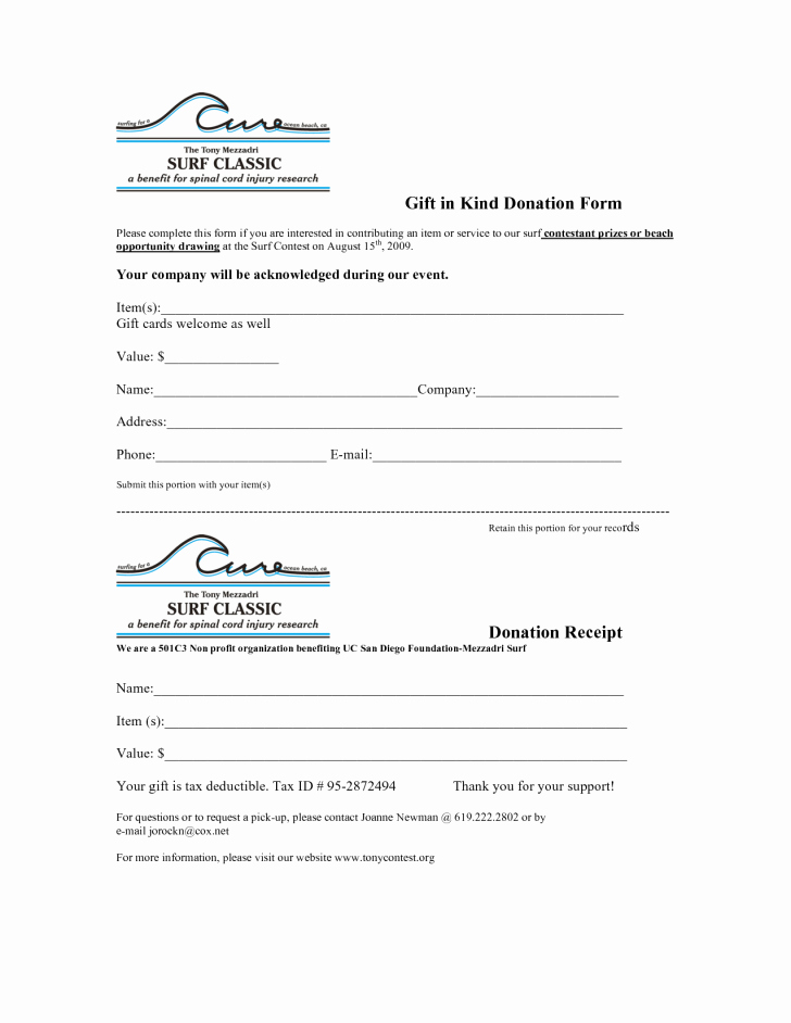 Donation Receipt Letter Template Word Inspirational form In Kind Donation form