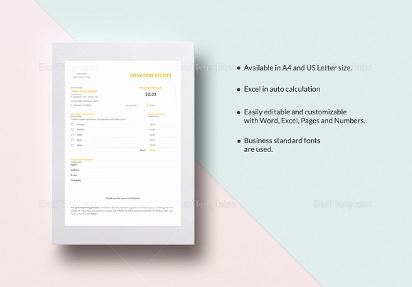 Donation Receipt Template Google Docs Inspirational Sample Receipt Template – 14 Free Word Excel Pdf format