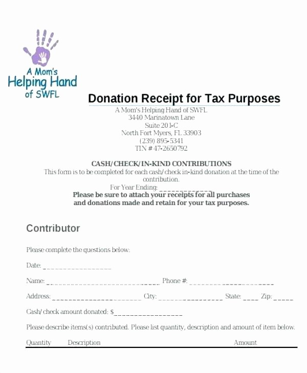 Donation Receipts for Tax Purposes Beautiful Sample Gift In Kind Donation Letter