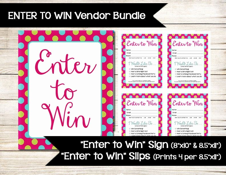 Door Prize Entry form Template Awesome Enter to Win Sign Raffle Ticket Drawing Slip