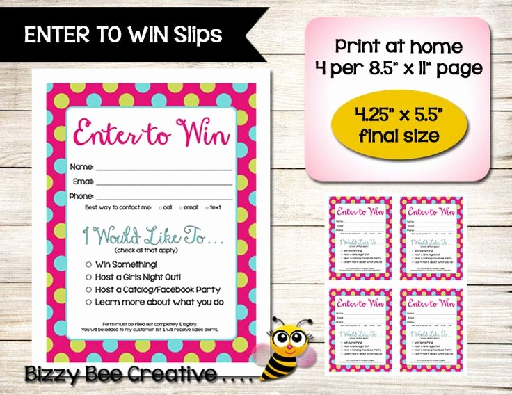 Door Prize Entry form Template Elegant Enter to Win Raffle Ticket Drawing Slip